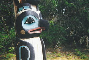Sitka National Historical Park - Detail of a raven head on a totem pole
