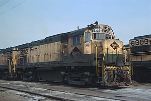 ALCO Century 424 - Reading Railroad ALCO C424 5202 at Rutherford Yard in Harrisburg, Pennsylvania in 1970
