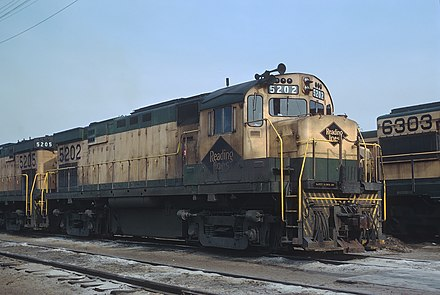 Reading ALCO C424 5202 at Rutherford Yard in Harrisburg, Pennsylvania in 1970 Reading 5202 (C424) Rutherford Yard, Harrisburg, PA on May 10, 1970 (21829140763).jpg