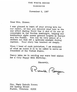 Mary Babnik Brown - Reagan letter November 6, 1987