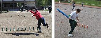 Finnish skittles - On the left: Veli-Pekka Juvonen playing individual skittles in Äänekoski, 2002, On the right: Esko Rautiainen playing in a team event in Imatra, 2003.