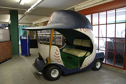 The bullpen car used by the Red Sox Red Sox Bullpen Cart (7224550882).jpg