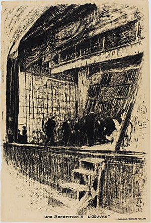 """Théâtre de l'Œuvre - A lithograph by Édouard Vuillard depicting a rehearsal on the stage of the Théâtre de l'Œuvre. The print was used as a program for the play """"L'Oasis"""" by Jean Jullien on December 14, 1903 and for a different production in 1908."""
