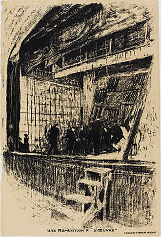 "Théâtre de l'Œuvre - A lithograph by Édouard Vuillard depicting a rehearsal on the stage of the Théâtre de l'Œuvre. The print was used as a program for the play ""L'Oasis"" by Jean Jullien on December 14, 1903 and for a different production in 1908."