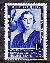 Timbre de 1 franc 75 centimes, avec surcharge de 25 centimes, portrait monochrome, en bleu, de la reine, avec la mention Concours international Internationale Wedstrijd Eugène Ysaÿe