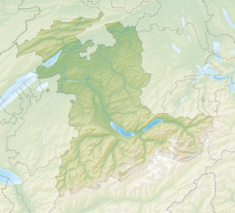 Map of the Canton of Bern showing locations of castles.