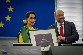 Sakharov Prize - The awarding ceremony of the 1990 prize awarded to Aung San Suu Kyi inside the Parliament's Strasbourg hemicycle, in 2013. Suu Kyi could not collect it before as she had been under house arrest for decades.