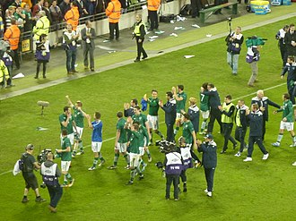 Republic of Ireland national football team - Irish celebrating qualification for UEFA Euro 2012