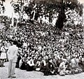 Reverent gathering at a Monastery in Sikkim listen as Dalai Lama tells them to follow the Buddhist principles of love and nonviolence.jpg