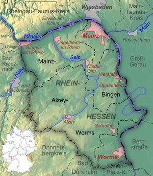 Relief und Topographie von Rheinhessen