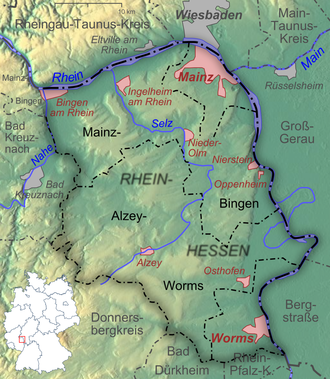 Rhenish Hesse - Topography and administrative divisions