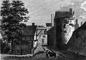 Canterbury city walls - The Riding Gate, first built in the 3rd century AD by the Romans, shown here in 1777