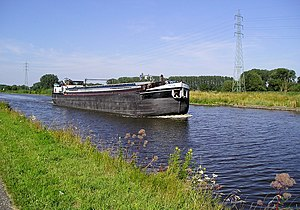 Dender - A ship on the Dender between Dendermonde and Aalst
