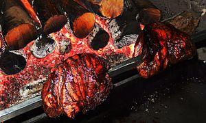 Roasting - Tudor style roasting meat on a spit