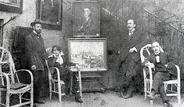 Robert Antoine Pinchon, Mrs. Dumont, La Broue, and Pierre Dumont (from left to right), before World War I.jpg