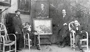 Société Normande de Peinture Moderne - From left to right: Robert Antoine Pinchon, Mrs. Dumont, La Broue and Pierre Dumont, at an exhibition before World War I