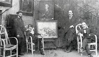 Société Normande de Peinture Moderne - From left to right: Robert Antoine Pinchon, Mrs. Dumont, La Broue and Pierre Dumont, at an exhibition before World War I