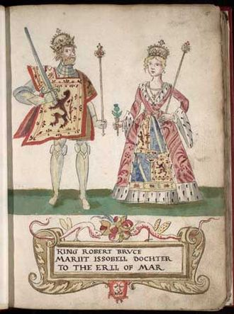 Robert the Bruce - Robert the Bruce and Isabella of Mar, as depicted in the 1562 Forman Armorial