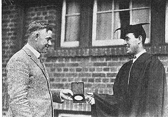 Robert J. Dunne - Dunne received Big Ten medal from Coach Yost, June 1922.