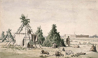 Rocky Mountain House - Rocky Mountain Fort in 1848 by Paul Kane