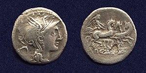 Trigarium - Roman Republic, AR Denarius, struck 111-110 BC, showing Victory in triga on the reverse.