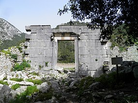 Roman Temple, probably of Marcus Aurelius according to an inscription found on a statue base erected in his honour, Olympos, Turkey (9657207688).jpg