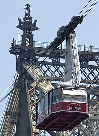 Roosevelt Island Tramway - An old tram car crossing the East River