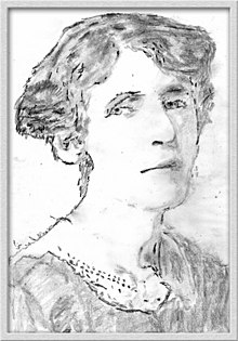 Pencil sketch of Rose Macaulay