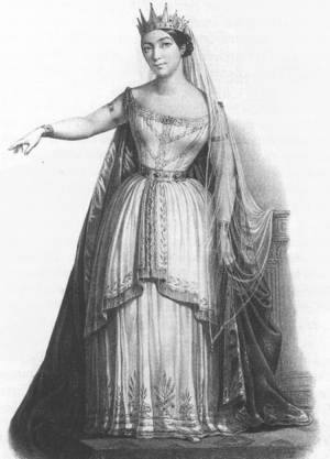 Giulia Grisi - Image: Rossini Semiramide Giulia Grisi as Semiramide lithograph after a drawing by Alexandre Lacauchie