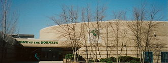 Roswell High School (Georgia) - Side entrance to Roswell High School. The gymnasium is visible with its domed roof.