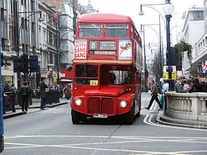 London Buses route 8 - Stagecoach London AEC Routemaster at Oxford Circus in March 2004