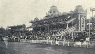 Apcar Alexander Apcar - Royal Calcutta Turf Club Race Stands on Viceroy's Cup Day, c.1910. Apcar was influential in having the stands built.