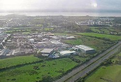 View over Shannon, with the industrial area on the left and the housing on the right