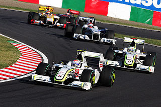 Rubens Barrichello leads his teammate - Jenson Button -  at the 2009 Japanese Grand Prix