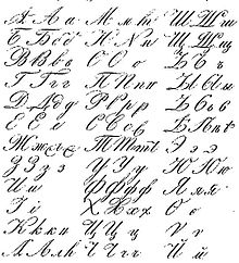 19th century variants of russian calligraphic cursive letters