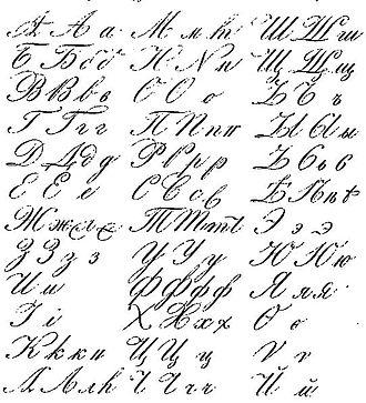 Russian cursive - Image: Russian handwriting 19 century