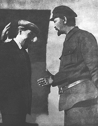 Felix Dzerzhinsky - Alexei Rykov, Chairman of the Council of People's Commissars (Prime Minister), greets Felix Dzerzhinsky, Director of the OGPU. 1924