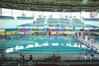 "Sports Authority of India - ""SAI National Swimming Academy"" (SAINSA) at SPM Swimming Pool Complex in Delhi."