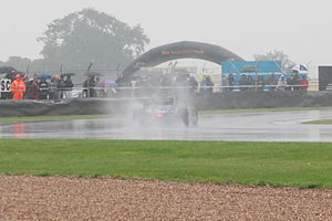 FC Porto (Superleague Formula team) - Tristan Gommendy driving in the rain during the second 2008 Donington race.