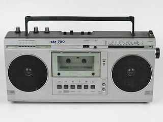 Boombox Portable music player with tape recorders and radio with a carrying handle