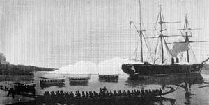 SMS OLGA bei der Beschießung von Hickorytown (Duala), Kamerun, Dezember 1884