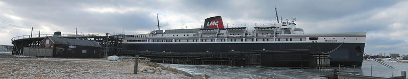 SS Badger at the dock in Ludington harbor