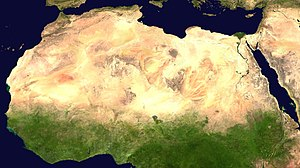 Natural environment - Satellite image of the Sahara desert; the world's largest hot desert and third-largest desert after the polar deserts.