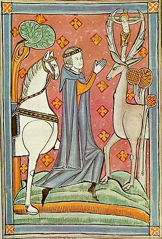 Deer in mythology - St Hubertus / St Eustace in a 13th-century English manuscript (Biblioteca Marciana)