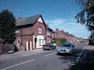 Saltney town on the England–Wales border with the west part lying in Flintshire, Wales, and the eastern part in Cheshire, England