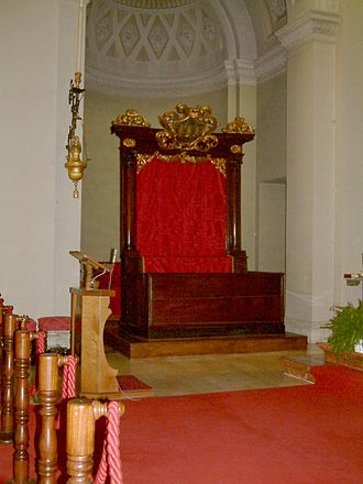 Religion in San Marino - Throne of the Captain's-Regent inside the basilica