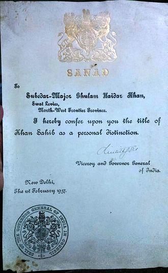 Khan Sahib - Sanad (Ghulam Haider Khan Subidar Major Swat Levies NWFP)