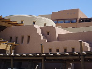 The round part is built to look like a kiva, w...