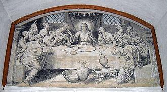 Nicolás Borrás - The Last Supper painted in fresco by Nicolás Borrás. Refectory of the Monastery of Sant Jeroni de Cotalba, XVI.