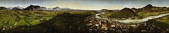 Johann Michael Sattler - Sattler's panorama of Salzburg (4.86 × 25.81 m)